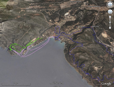 Combined tracklog from holiday in Cassis, France; viewed in Google Earth